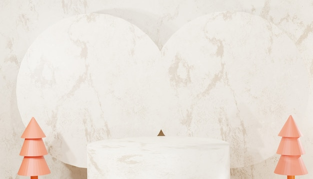 Arrière-plan 3d rendu podium en marbre argenté un minimum de marches de base vides et d'arbres avec espace de copie