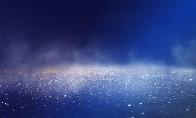 Arrière-plan abstrait flou sombre. paillettes de lumières floues. réflexion sur l'asphalte, fumée.