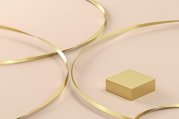 Arrière-plan abstrait pour la présentation ou la marque plate-forme dorée et ligne dorée sur fond beige