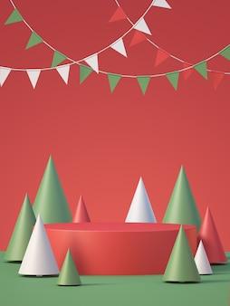 Arrière-plan d'affichage de maquette de produit de noël et du nouvel an avec arbre de noël, arrière-plan de rendu 3d
