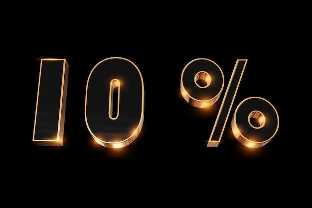 Arrière-plan créatif, soldes d'hiver, 10%, réduction, chiffres or 3d.