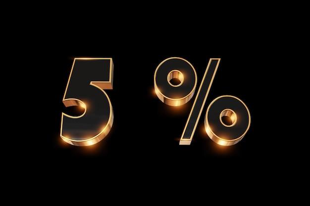 Arrière-plan créatif, soldes d'hiver, 5 pour cent, réduction, chiffres or 3d.