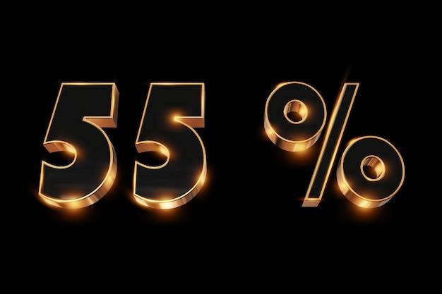 Arrière-plan créatif, soldes d'hiver, 55%, réduction, chiffres or 3d.