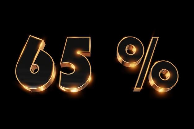 Arrière-plan créatif, soldes d'hiver, 65%, réduction, nombres d'or en 3d.
