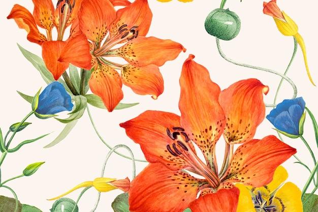 Arrière-plan dessiné à la main avec motif de fleurs, remixé à partir d'œuvres d'art du domaine public