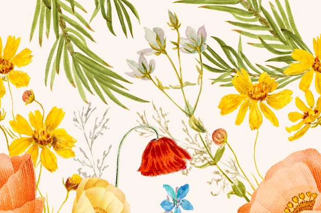 Arrière-plan dessiné à la main avec motif de fleurs, remixé à partir d'œuvres du domaine public