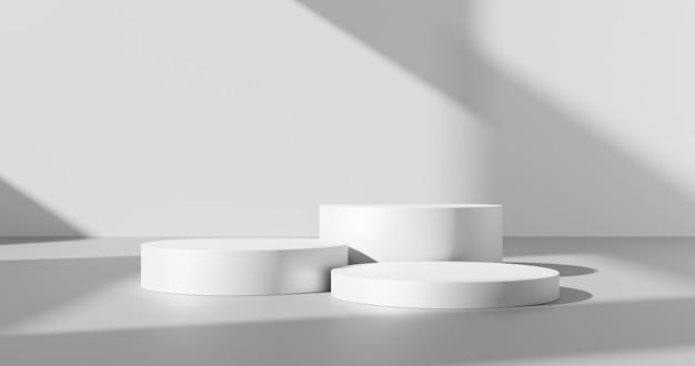 Arrière-plan du produit blanc ou conception de la salle vide vide et lumière de la fenêtre, scène de plate-forme d'affichage d'ombre minimale sur le support de toile de fond de scène de piédestal de podium intérieur avec vitrine de studio. rendu 3d.