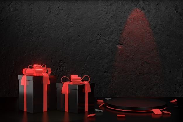 Arrière-plan du produit numérique. deux coffrets cadeaux noirs avec ruban arc rouge et podium cylindre rouge sur fond noir en béton texturé. rendu d'illustrations 3d.