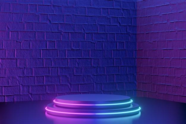 Arrière-plan du produit numérique. deux podiums à cylindre rond noir avec lumière led sur fond de briques rose bleu foncé. rendu d'illustrations 3d.