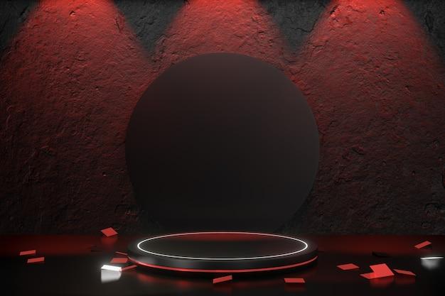 Arrière-plan du produit numérique. podium de cylindre rouge noir sur fond noir en béton de texture. rendu d'illustrations 3d.