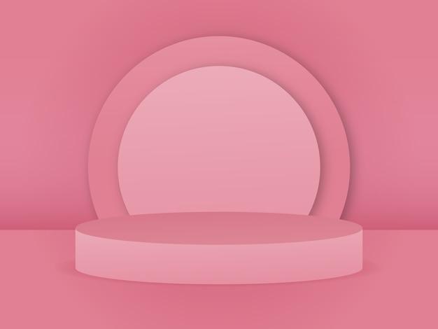 Arrière-plan du produit vide podium studio rendu vectoriel 3d concept minimal couleur rose tendre