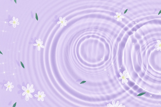 Arrière-plan esthétique, texture d'ondulation de l'eau, papier peint à fleurs blanches
