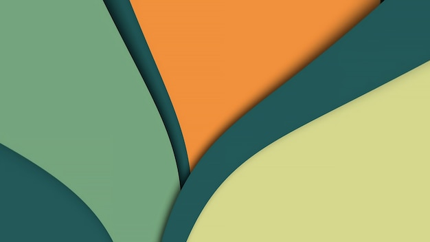 Arrière-plan flexible abstrait bouclé vert jaune, rayures incurvées de différentes couleurs