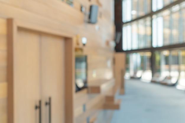 Arrière-plan flou de l'espace intérieur de bureau
