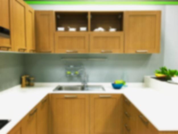 Arrière-plan flou intérieur de cuisine moderne