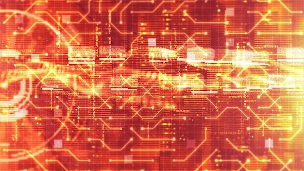 Arrière-plan holographique d'affichage numérique et de circuit hi-tech hud. concept technologique