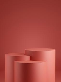 Arrière-plan minimal.podium avec fond rouge. illustration de rendu 3d.
