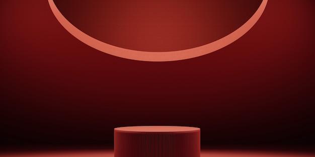 Arrière-plan minimalpodium avec fond rouge pour la présentation du produit illustration de rendu 3d