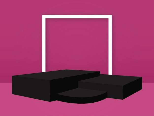 Arrière-plan pour les produits vide podium studio rendu vectoriel 3d fond rose et podium noir