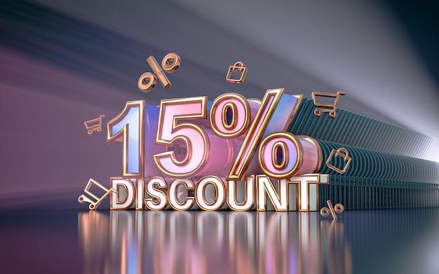Arrière-plan de réduction de l'offre spéciale de 15 pour cent pour le rendu 3d de l'affiche de promotion des médias sociaux