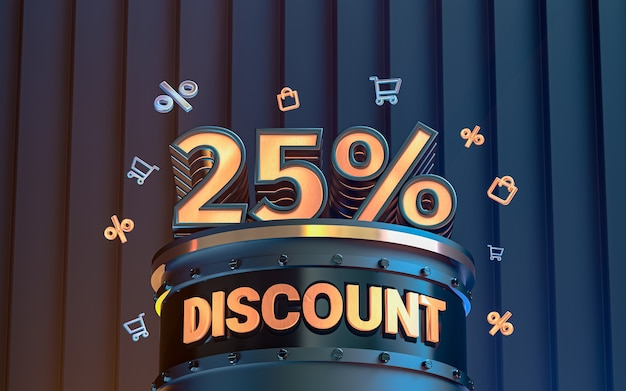 Arrière-plan de réduction d'offre spéciale de 25 pour cent pour le rendu 3d de l'affiche de promotion des médias sociaux