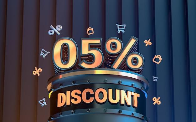 Arrière-plan de réduction d'offre spéciale de 5 pour cent pour le rendu 3d de l'affiche de promotion des médias sociaux