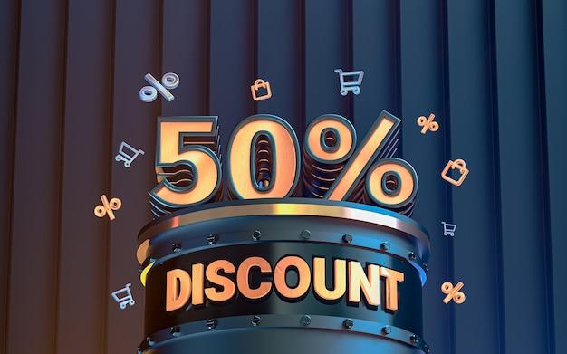 Arrière-plan de réduction d'offre spéciale de 50 pour cent pour le rendu 3d de l'affiche de promotion des médias sociaux
