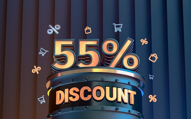 Arrière-plan de réduction d'offre spéciale de 55 pour cent pour le rendu 3d de l'affiche de promotion des médias sociaux