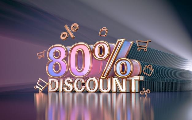 Arrière-plan de réduction d'offre spéciale de 80 pour cent pour le rendu 3d de l'affiche de promotion des médias sociaux