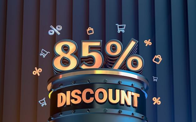 Arrière-plan de réduction d'offre spéciale de 85 pour cent pour le rendu 3d de l'affiche de promotion des médias sociaux