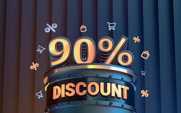 Arrière-plan de réduction d'offre spéciale de 90 pour cent pour le rendu 3d de l'affiche de promotion des médias sociaux