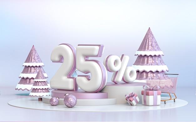Arrière-plan de réduction d'offre spéciale d'hiver de 25 pour cent pour le rendu 3d de l'affiche de promotion des médias sociaux