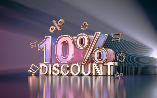 Arrière-plan de remise d'offre spéciale de 10 pour cent pour le rendu 3d de l'affiche de promotion des médias sociaux
