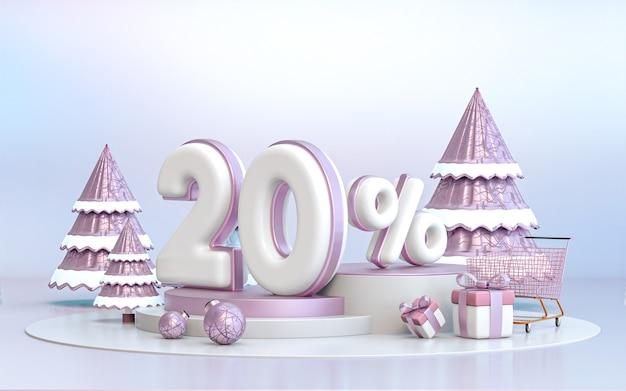 Arrière-plan de remise de l'offre spéciale d'hiver de 20 pour cent pour le rendu 3d de l'affiche de promotion des médias sociaux