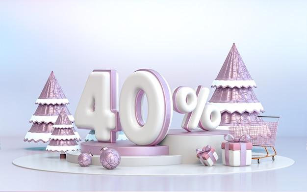 Arrière-plan de remise de l'offre spéciale d'hiver de 40 pour cent pour le rendu 3d de l'affiche de promotion des médias sociaux