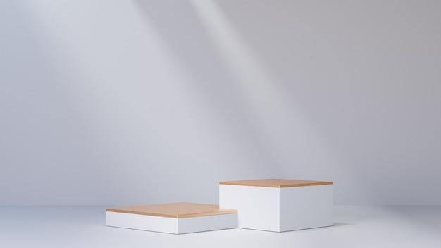 Arrière-plan de rendu 3d. deux podiums d'étape de bloc d'or blanc sur le fond blanc. image pour la présentation.