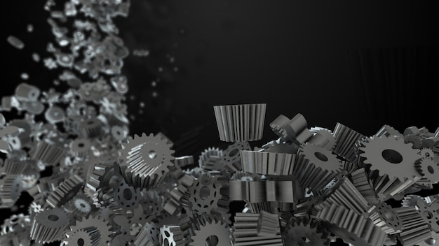 Arrière-plan de rendu 3d avec forme aléatoire d'engrenages et de roues dentées
