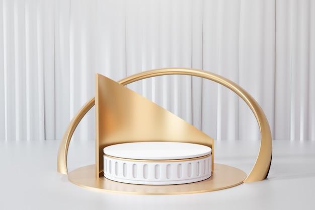 Arrière-plan de rendu 3d. podium de scène de cylindre en or blanc de style romain avec dos courbe en or et sur fond de rideau blanc. image pour la présentation.