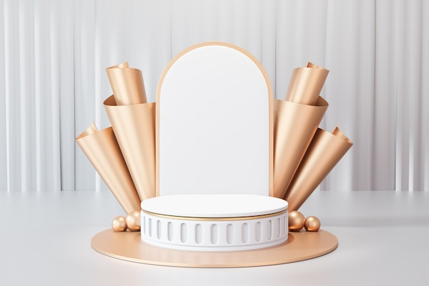 Arrière-plan de rendu 3d. podium de scène de cylindre d'or blanc de style romain avec mur arrière de courbe d'or et sur fond de rideau blanc. image pour la présentation.