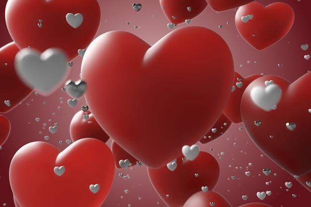 Arrière-plan romantique composé de formes de coeur en rendu 3d avec profondeur de champ et reflets, beaucoup de coeur avec un grand au centre