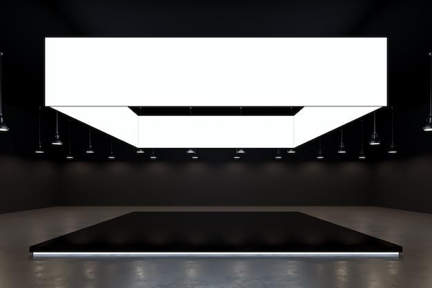 Arrière-plan de la salle d'exposition de l'événement avec espace moderne vide et rendu 3d de la toile de fond vue de face