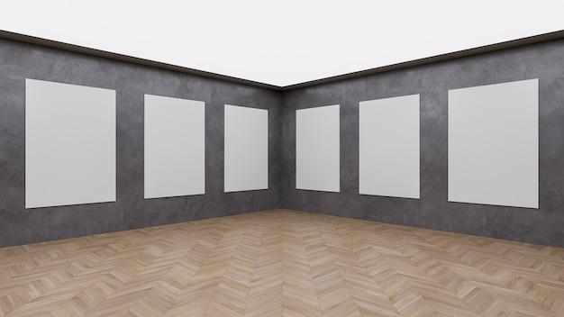 Arrière-plan de la salle d'exposition de l'événement avec un espace moderne vide et une vue de face en toile de fond rendu 3d