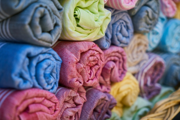 Arrière-plan avec des serviettes en coton