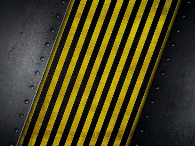 Arrière-plan de style grunge avec des bandes d'avertissement jaunes et noirs