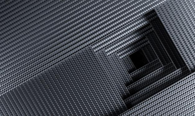 Arrière-plan sur le thème géométrique en fibre de carbone. rendu 3d