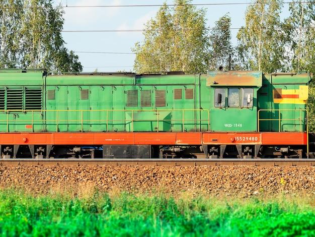 Arrière-plan de transport de locomotive diesel train russe