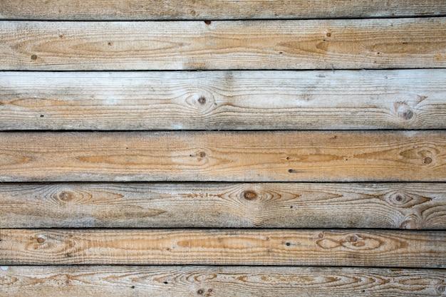 Arrière-plan De Vieilles Planches Marron Clair Minables Disposées Horizontalement Avec Un Espace Pour Le Texte. Photo Premium