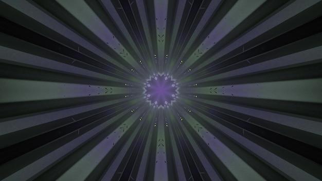 Arrière-plan visuel abstrait 4k uhd illustration 3d d'un tunnel futuriste sans fin avec des rayures symétriques et un trou de forme ronde éclairé par des néons clignotants