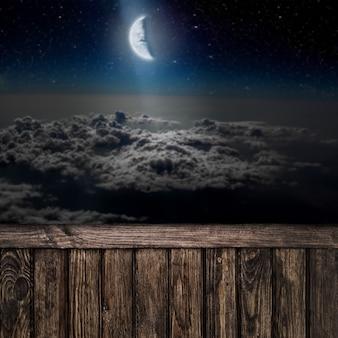 Arrière-plans ciel nocturne avec étoiles, lune et nuages. bois. éléments de cette image fournis par la nasa