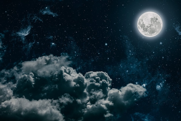 Arrière-plans ciel nocturne avec étoiles, lune et nuages. éléments de cette image fournis par la nasa